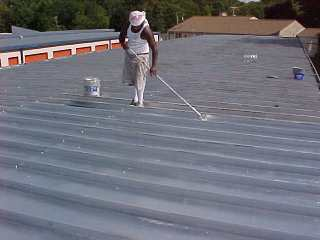 Silver Film on a commercial metal roof